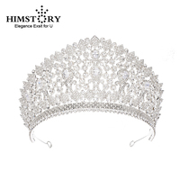 Himstory Gorgeous Stunning Wedding Cubic Zircon Tiara Crown Queen Princess Big Pageant Party Headpiece Bridal Hair Accessories