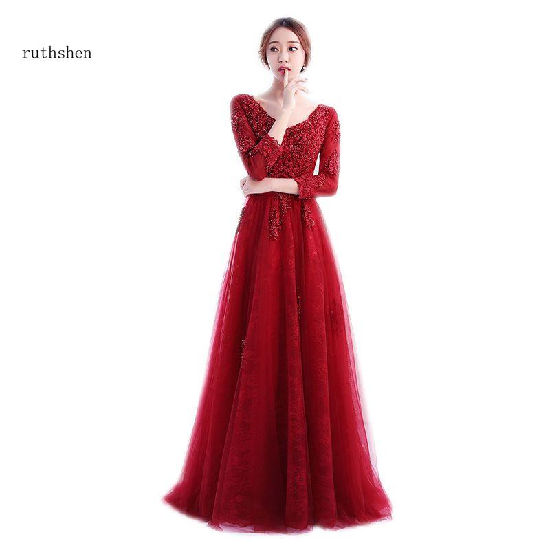 ruthshen Burgundy   Prom     Dresses   A-line Special Occasion Party Gowns 2018 New Arrival Three Quarter Sleeves   Prom     Dresses