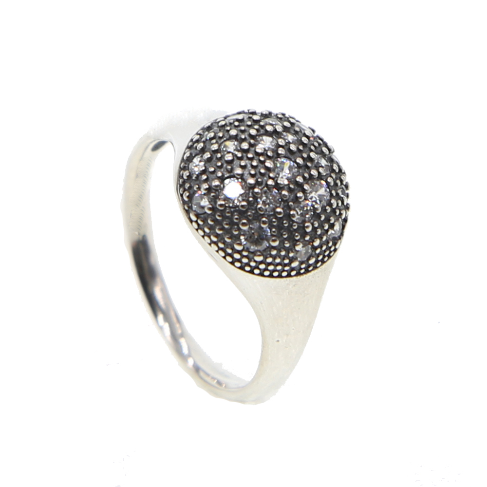 oxidized vintage women ladies finger ring simple design cz round dots classic charming women jewelry