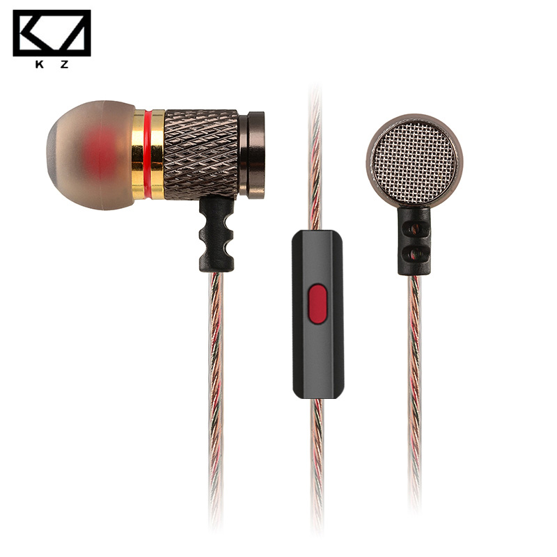 Original KZ EDR1 Earphone 3.5mm HiFi Bass Stereo DJ Music Enthusiast Earbuds In-Ear Earphones with Microphone for Mobile Phone glaupsus gj01 in ear 3 5mm super bass microphone earphones earplug stereo metal hifi in ear earbuds for iphone mobile phone