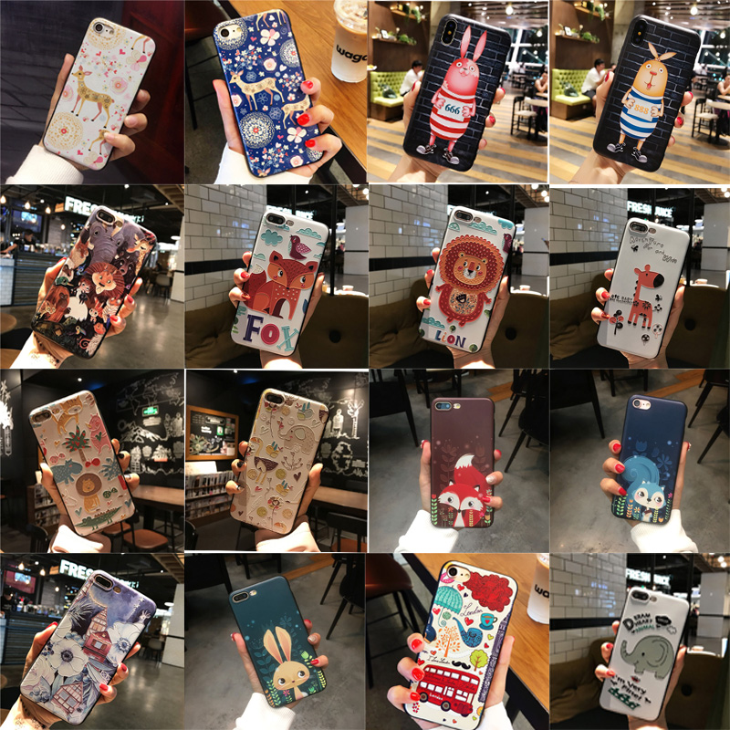Ultra Thin Cartoon animal 3D Relief Cute phone case TPU Silicone Rubber Soft Cover Cases for iphone 5 5S SE 6 6S 7 8 Plus X