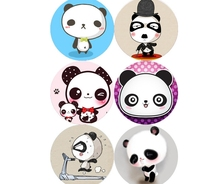 (5 pieces a lot)Creative cartoon panda crystal glass fridge magnet цена