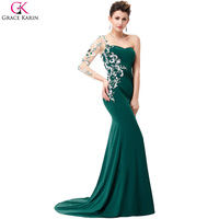 Evening Dresses Long Grace Karin Emerald Green Lace Appliques Sweetheart One Long Sleeves Mermaid Evening Dresses