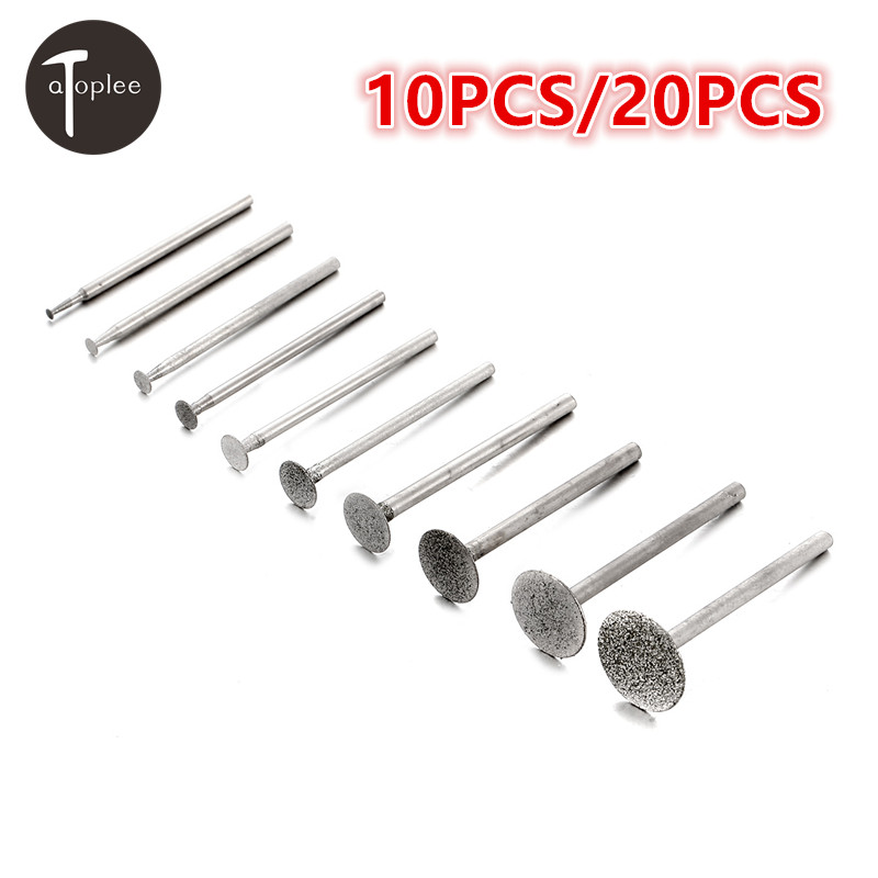 10/20pcs T Style Diamond Grinding Head 2-16mm Cutter Head Burs Dremel Rotary Tool Abrasive Carving Polishing Head