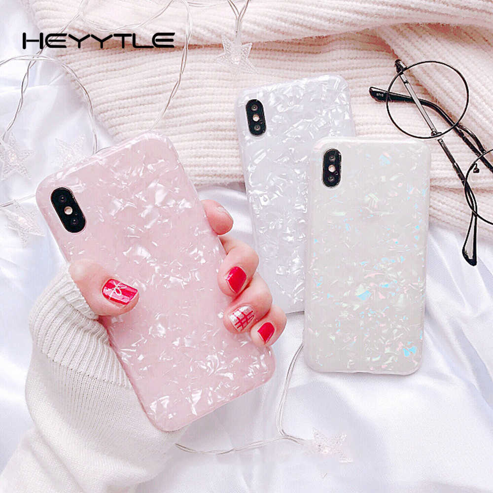 Heyytle Luxury Pink Shell Pattern Phone Case For iPhone X 8 7 6S 6 Plus Cases Transparent Ultra-thin Back Cover Cute Soft Coque