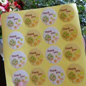 Image 3 - 1200 pçs/lote obrigado pequena árvore de natal cozimento vedação kraft adesivo selo etiqueta diy papel redondo etiqueta atacado