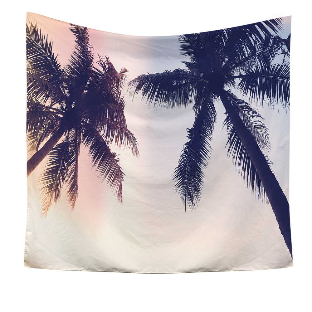 Tropical Hawaii Style Tapestry Wall Hanging Beach Palm trees 3D Print Macrame Tapestry Beach Towel Throw Blanket Home Decora in Tapestry from Home Garden