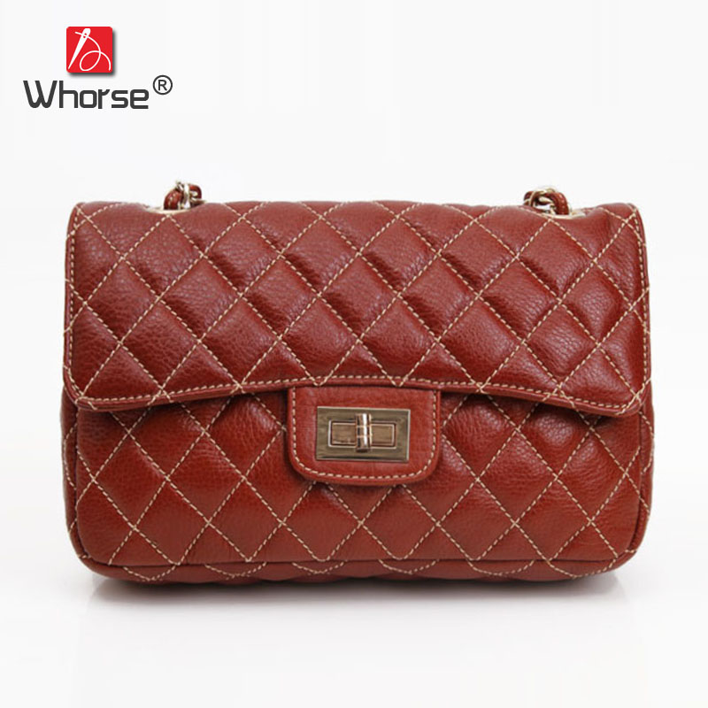 Top Quality Classic Chain Plaid Genuine Leather Womens Flap Bag Cowhide Shoulder Crossbody Messenger Bags For Women W092579 open shoulder plaid top