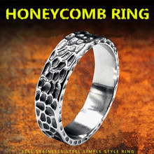 KLDY Punk Gothic ring for men Stainless Steel Antique honeycomb Simple Ring Old style for Men Jewelry Birthday Gifts new arrival punk style layered stainless steel cross ring for men