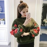 New Valentine's Day Sweatshirt Women Rose Embroidery Sweatshirts Women Hoodies Pullover Oversize Clothes