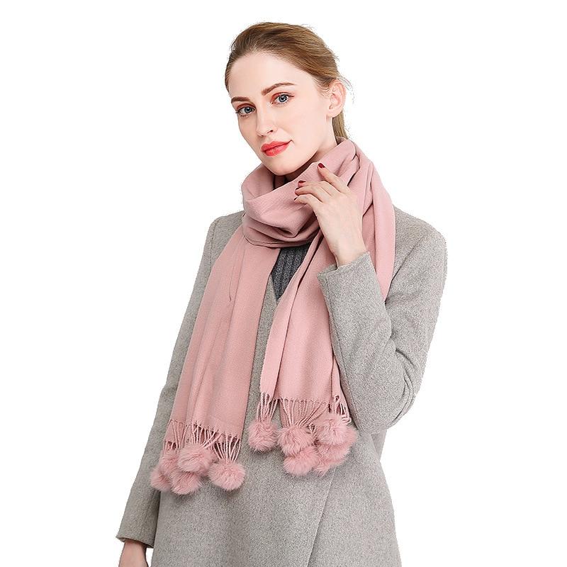 VISROVER  2019 23 Colorways Fashion Cashmere Woman Winter Scarf Real Fur Pompoms Autumn Winter Shawl Female Winter Scarve Pompom