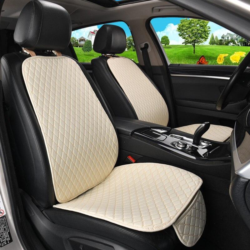 5 sièges housse de siège de voiture en lin protecteur avec dossier avant arrière siège arrière taille de coussin lavable tapis pour Auto - 3