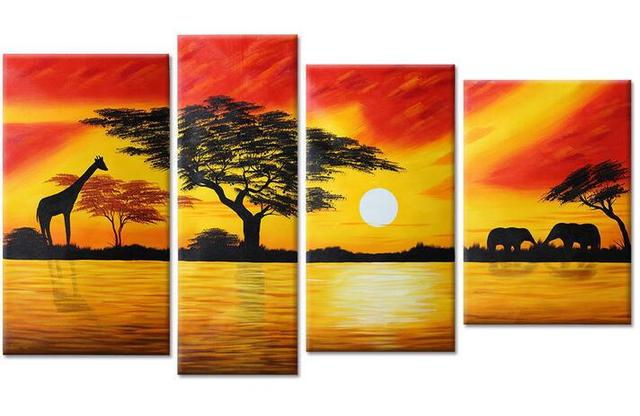 4pcs/set Hand painted Oil Paintings Modern Abstract Sunset River ...