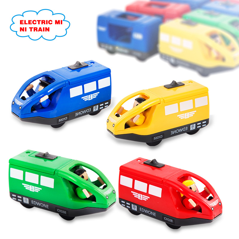 4 farben Kinder Elektrische Zug Spielzeug 10,5*4 cm Magnetische Holz Slot Diecast Elektronische Fahrzeug Spielzeug Geburtstag Geschenke Für kinder Kinder
