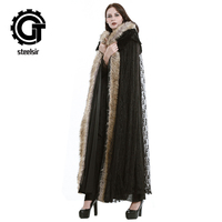 Fashion Gothic Women Fur Hooded Long Trench Female Steampunk Black Lace Warm Cloak Capes Overcoats Winter Over Coats