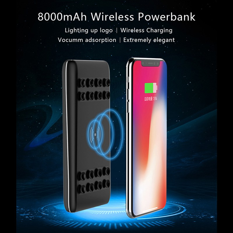 8000mAh Power Bank External Battery Quick Charge Qi Wireless Charger for iPhone 8 8 Plus X USB Powerbank for Samsung S6 S7 S8