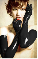 free shipping Sexy Gloves Womens Adult Wet Look Latex PVC Leather Fetish Costume Accessory