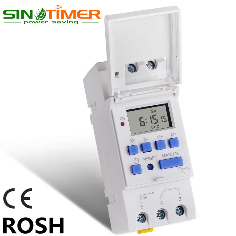 SINOTIMER Brand Microcomputer Electronic Weekly Programmable Digital TIMER SWITCH Time Relay Control 220V AC 16A Din Rail Mount thc15a zb18b timer switchelectronic weekly 7days programmable digital time switch relay timer control ac 220v 30a din rail mount