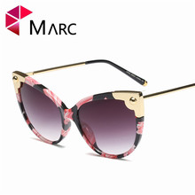 MARC New 2019 Trend Sunglasses Women Luxury Brand Designer Vintage Cat eye Rivet Shades Female Male Fashion Eyewear Flowers