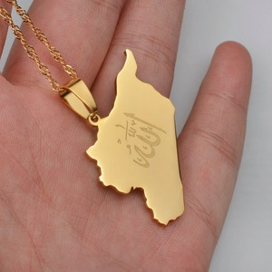 Image 3 - Anniyo Country Map Syria Pendant Witk Allah Name Gold Color Syrians Maps Necklace Jewelry Gifts #020121