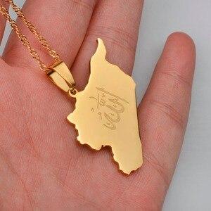 Image 3 - Anniyo 국가지도 시리아 펜던트 Witk 알라 이름 골드 컬러 시리아지도 목걸이 쥬얼리 선물 #020121