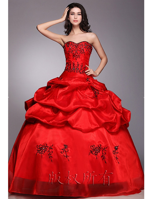 a86aff0526 En stock 2016 de la moda rojo vestido de Bola Bordado Vestido de Organza de  Partida