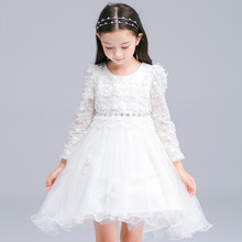2016 New Baby Girl Formal Dress Appliques Bow Decoration Kid Swallow Tail Ball Gown Long Sleeve Winter Dress For Wedding Party