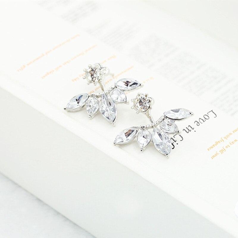 С украшением в виде кристаллов серьги с подвеской в виде цветка для Для женщин ювелирные изделия двусторонняя золото; серебро; сережки подарок для вечерние best friend» A55 - Окраска металла: e012yin