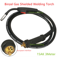 MB 15AK CO2 MIG MAG Welding Torch 3m Cable Binzel Style 180A Integrated two welding machine welding torch Binzell European style