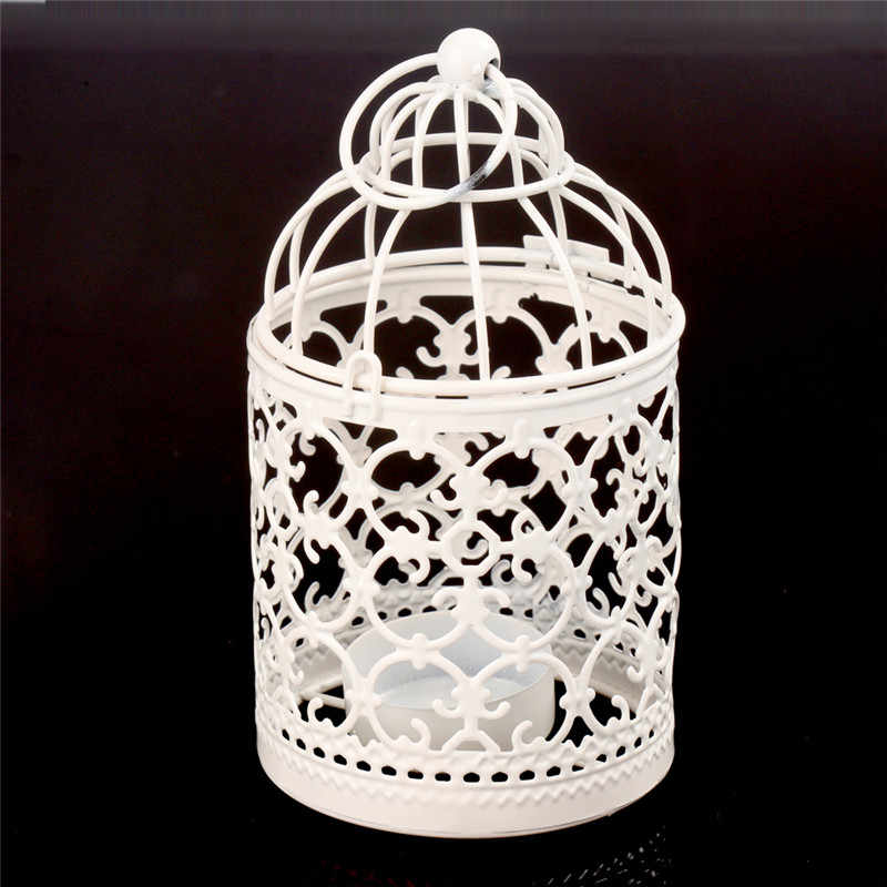 Bird Cage Metal Candle Holder Hollow out Iron Decorative Centerpiece Hanging Candlestick Lantern