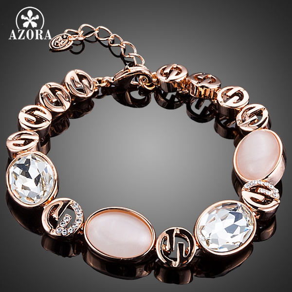 AZORA Rose Gold Color Gorgeous Party Jewelry With Pink Opal and Clear Stellux Austrian Crystal Bracelet TS0130