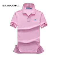 100 Cotton 2017 Brand Men S Solid Color Lapel Short Sleeve Small Horse Polos Casual Mens