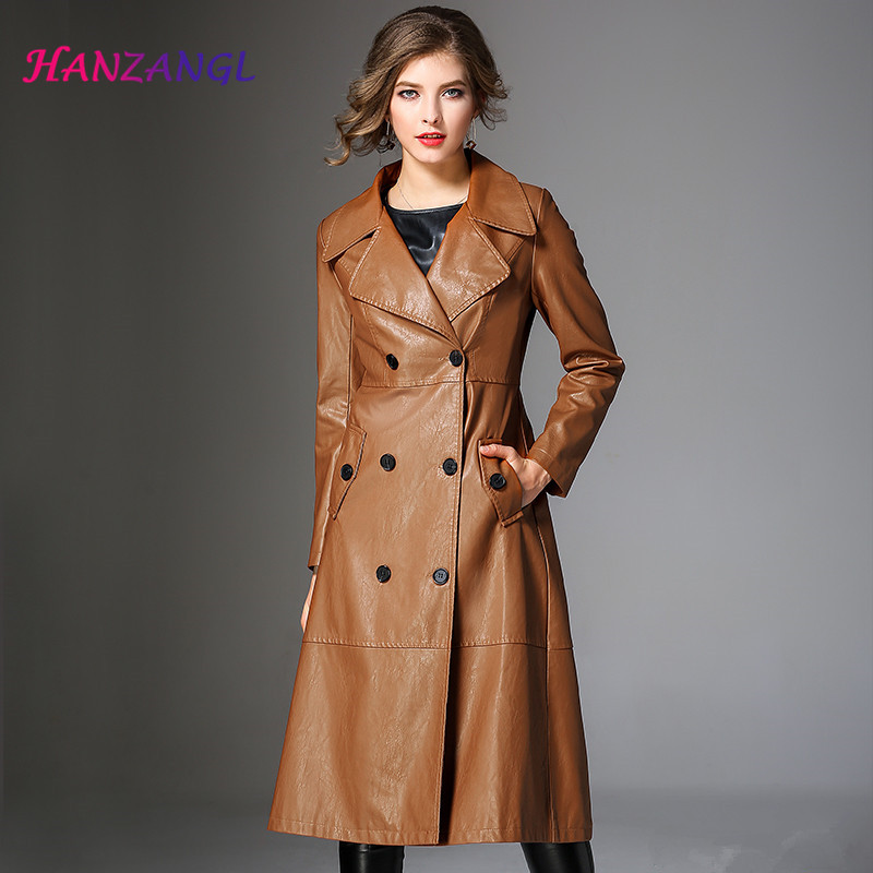 HANZANGL   Leather   Jacket 2019 Spring Autumn Double Breasted Women's Coat Jacket Fashion Slim Pu   Leather   Trench Long Outerwear