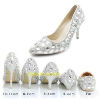 Wedding Shoes Female Autumn Crystal shoes Bridal Wedding Dress Matches Women's Silver Heels Pointed Toe Thin Heels Big Size 46