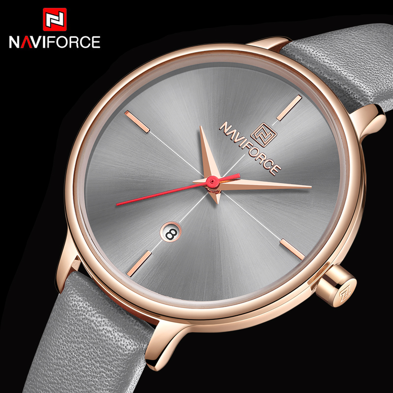 NAVIFORCE Women Watches Top Brand Luxury Waterproof Women's Watches Leather Strap Bracelet Female Clock New Relogio Feminino