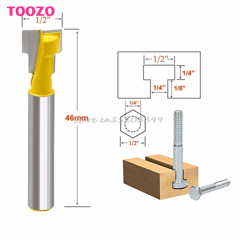 1/2'' T-Slot Cutter Steel Handle Milling Router Bit 1/4'' Shank For Woodworking #G205M# Best Quality  цены