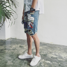 2017 Summer fashion personality cartoon print male hole jeans pants teenage knee-length the trend