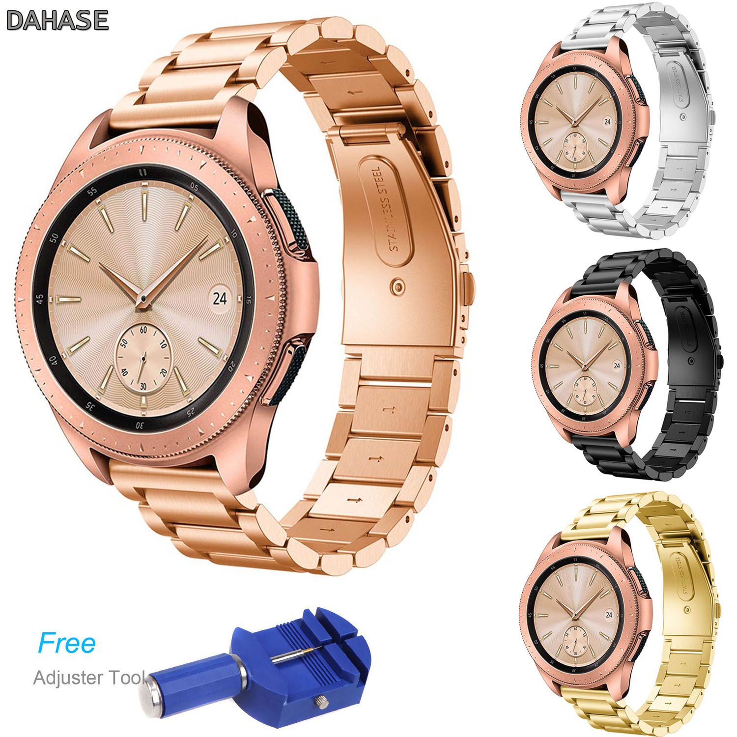DAHASE Stainless Steel Watch Band for Samsung Galaxy Watch 42mm SM-R810 Strap Metal Links Wristband with Quick Release Pins