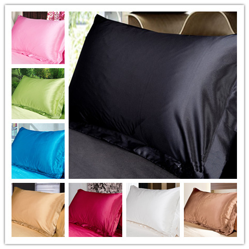 LYN&GY New Silk Pillowcase Face Envelope bedding Pillow Case 1 Pc Pillow Cover Silk Pillow Case 48*74cm 17 Colors to Choose