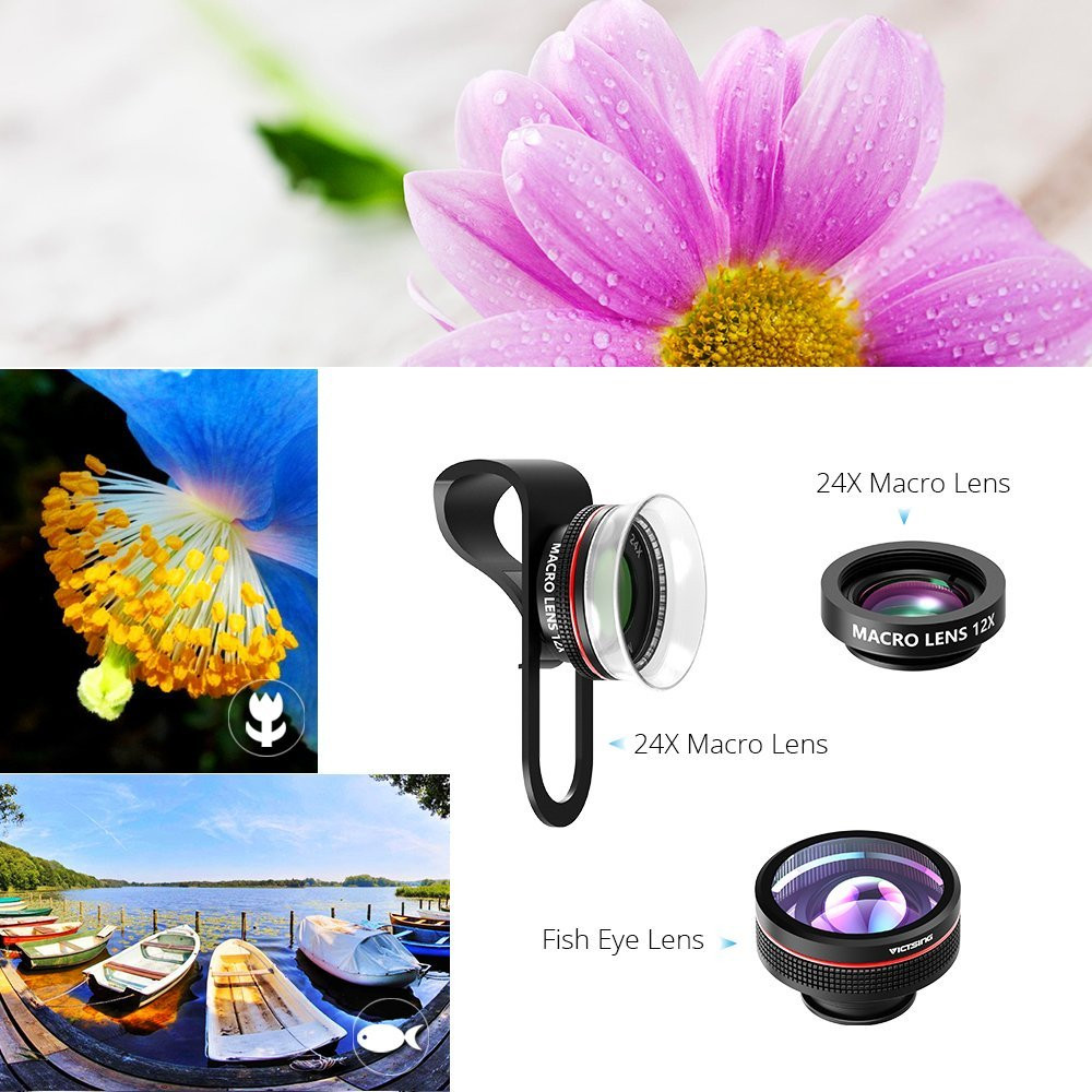 VICTSING Clip-on 3 in 1 Camera Phone Lens Kit Fisheye Lens + 12X Macro + 24X Super Macro Lens for iPhone 6s 6 Plus etc Cellphone 4