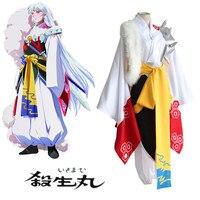 Anime Japonés Inuyasha Sesshoumaru cosplay disfraces ropa (top + pantalones + mantón De la Piel + Faja)