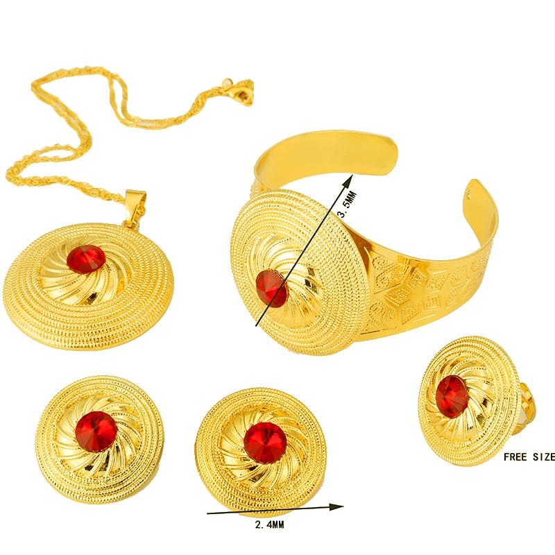 Renk Taş Etiyopya Altın Set Takı Kolye Kolye Bileklik Küpe - Kostüm mücevherat - Fotoğraf 3