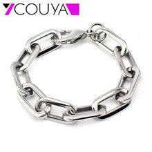 Мода стиль ручной работы Shinny готово ссылка браслет 316L нержавеющая сталь прямоугольный подключен широкая сеть для женщин