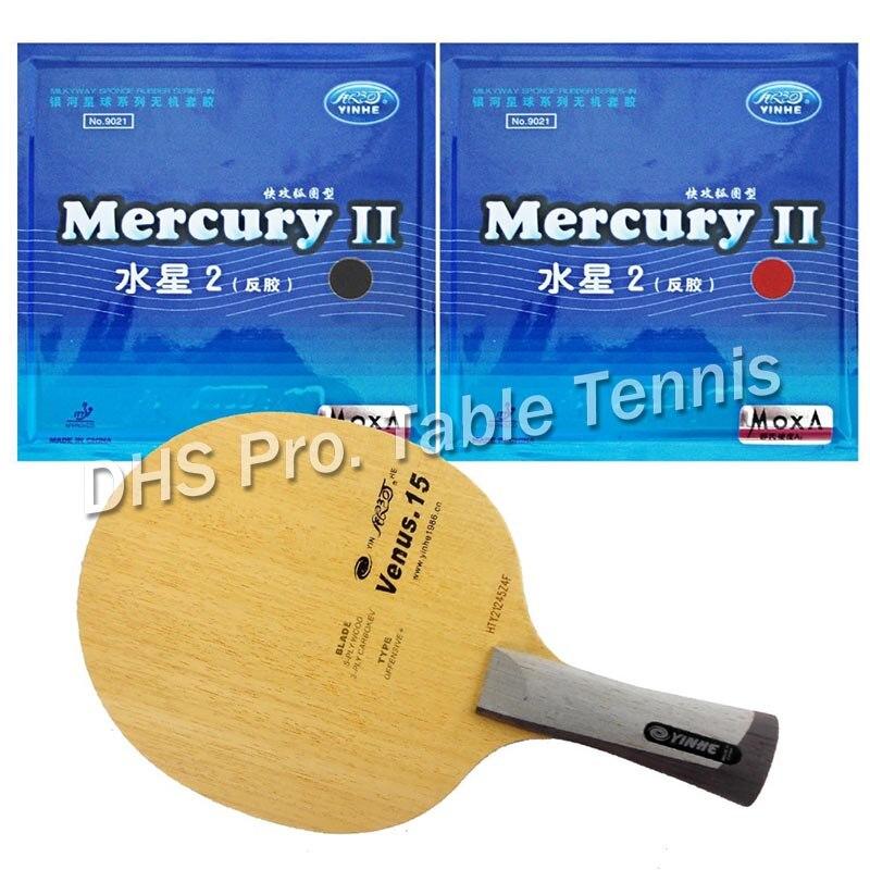 Pro Table Tennis Combo Paddle Racket Yinhe Venus.15 with 2 Pcs Mercury II Shakehand long handle FL