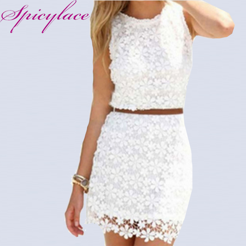 Spicylace 2018 Women's Spring Summer Lace Dresses O ncek Sleeveless Knee-Length <font><b>vestidos</b></font> <font><b>de</b></font> <font><b>renda</b></font> <font><b>Bodycon</b></font> Hip <font><b>Sexy</b></font> Pencil Dress image
