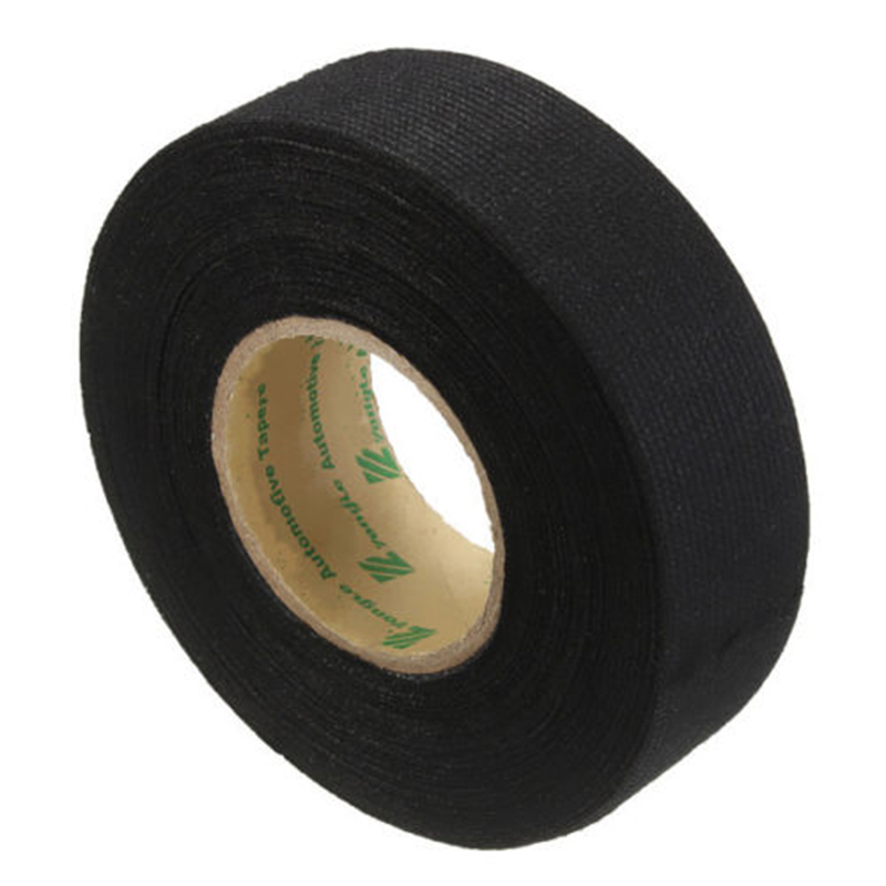 1PCS Hot 15mx25mm Car Black Adhesive Cloth Fabric Tape Looms Wiring Harness New
