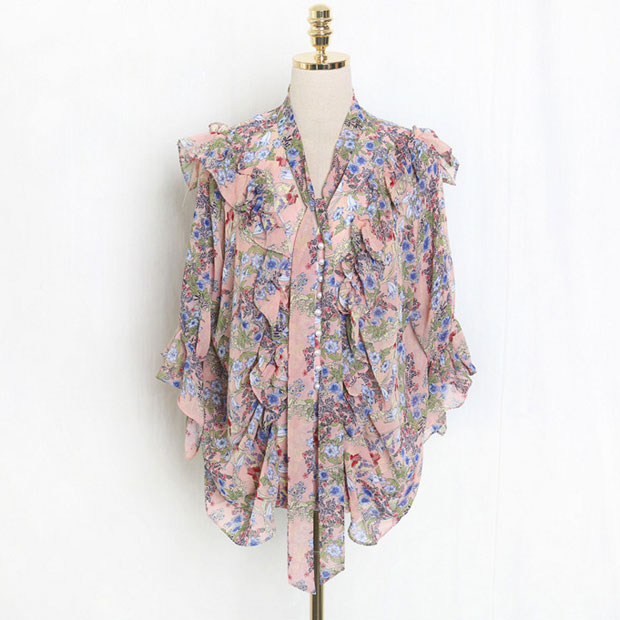New J41581 One Size Women Chiffon Shirt Casual Fashion Sweet Small Floral Printed Tshirt-in T-Shirts from Women's Clothing    2