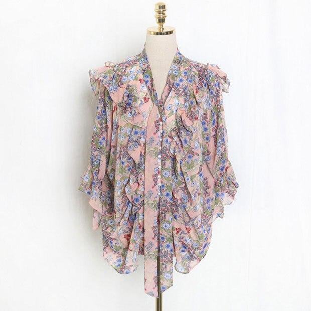 Nuevo J41581 una camisa de chifón de talla única moda Casual dulce pequeña Camiseta con estampado Floral - 2