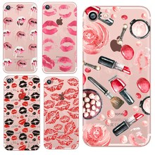 Sexy makeup Lip print Pattern case for iphone 6 6 S SE 5 iPhone 5s 7 8 plus case silicone Ultrathin Soft TPU coque iphone x 360 castle pattern protective tpu pu case w stand for iphone 6 plus 5 5 multicolored