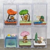 Cartoon Rilakkuma Bear Seasonal Terrarium Mini PVC Figures Collection Toys Dolls 6pcs/set